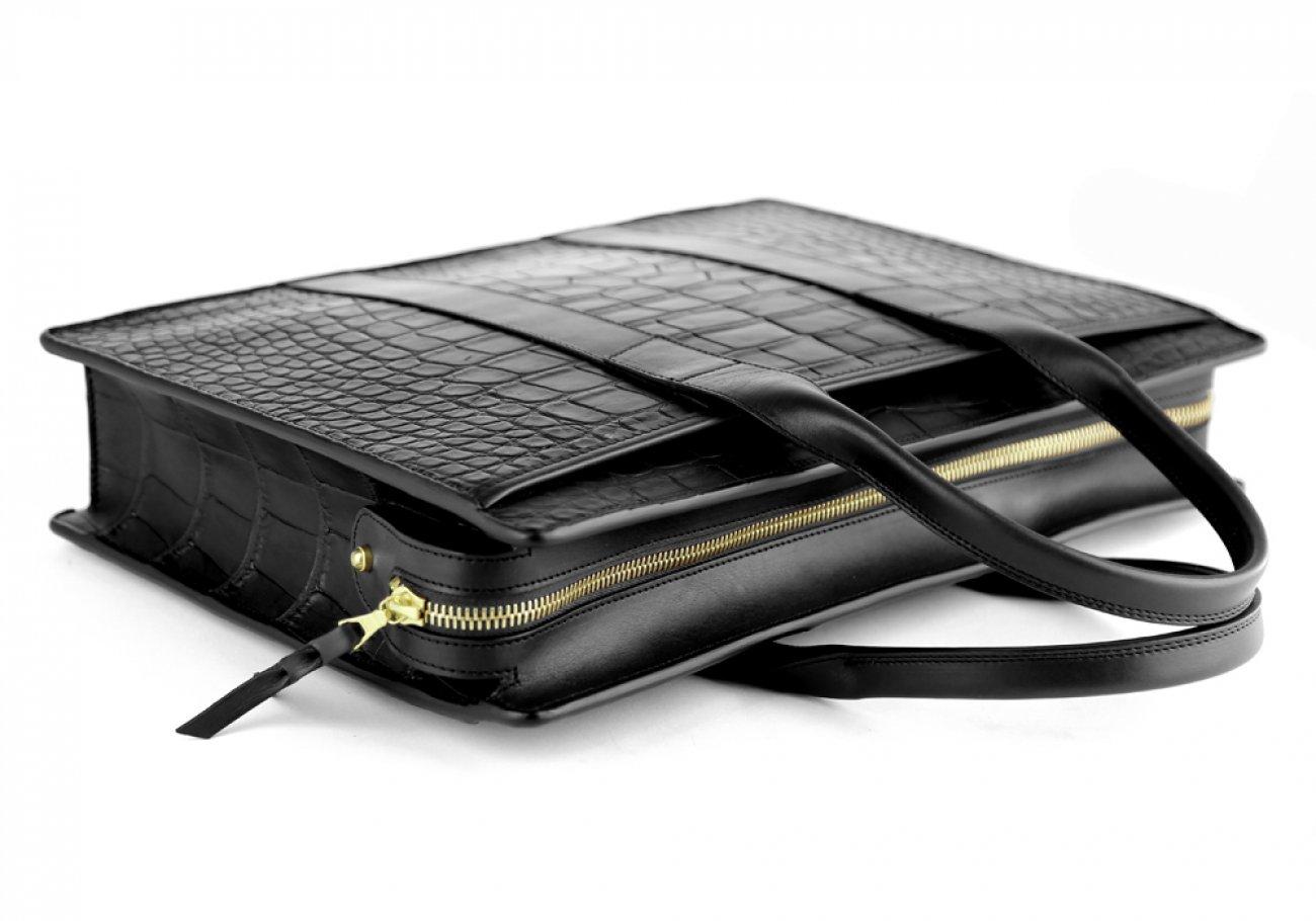 Alligator Briefcase Frank Clegg Zip Top Briefcase Black 8