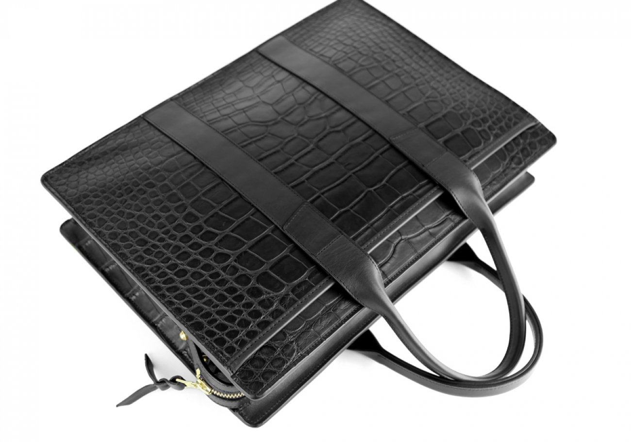 Alligator Briefcase Frank Clegg Zip Top Briefcase Black 9