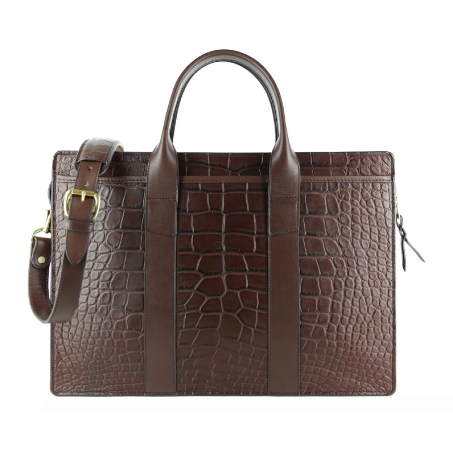 Alligator Briefcase Frank Clegg Zip Top Briefcase Chocolate 1 Final
