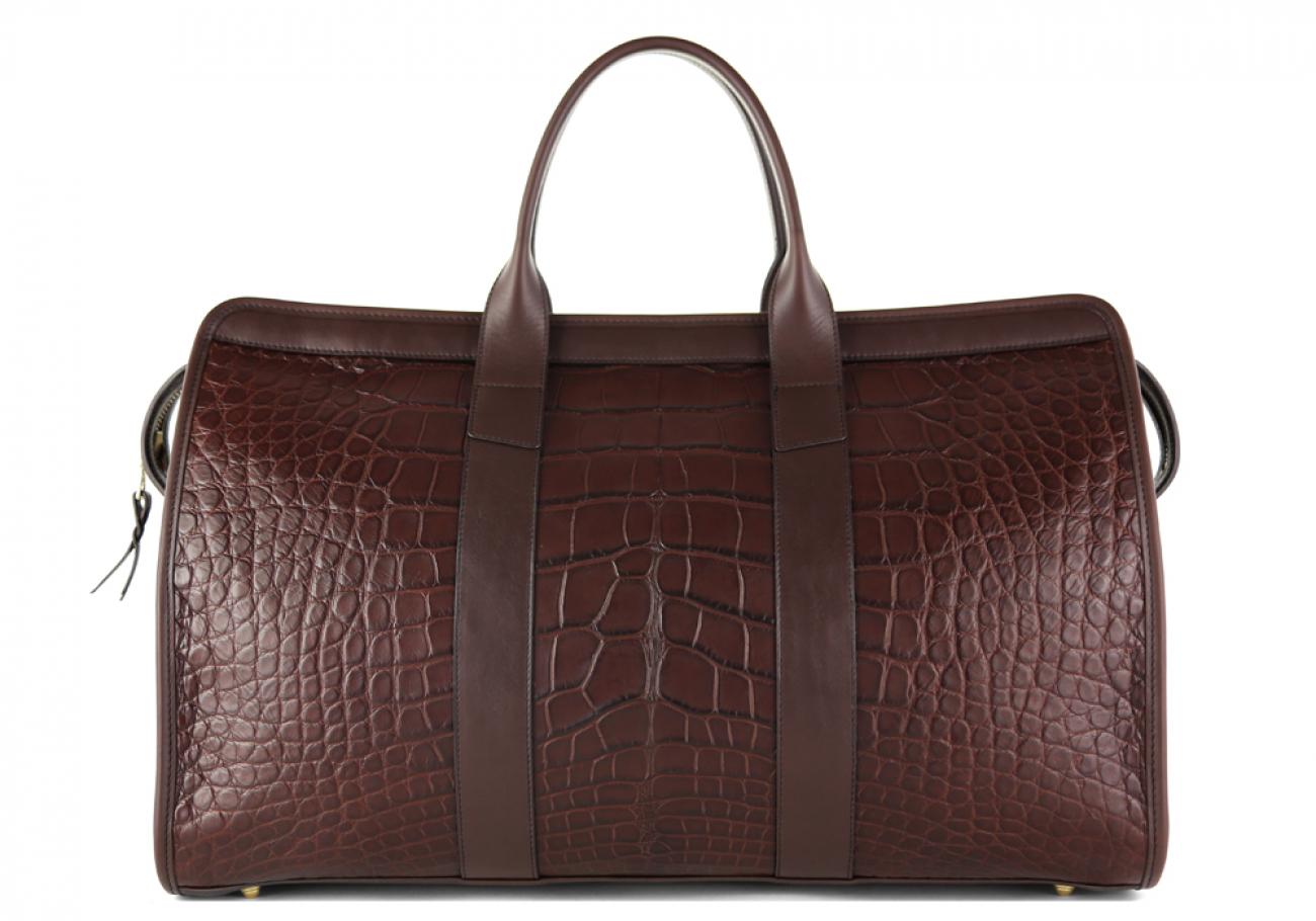 Alligator Duffle Bag Frank Clegg Signature Travel Duffle Chocolate 2