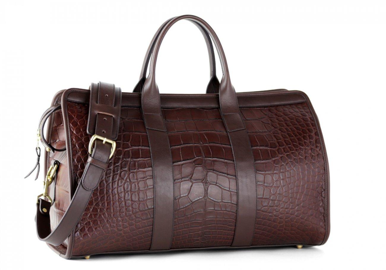 Alligator Duffle Bag Frank Clegg Signature Travel Duffle Chocolate 5
