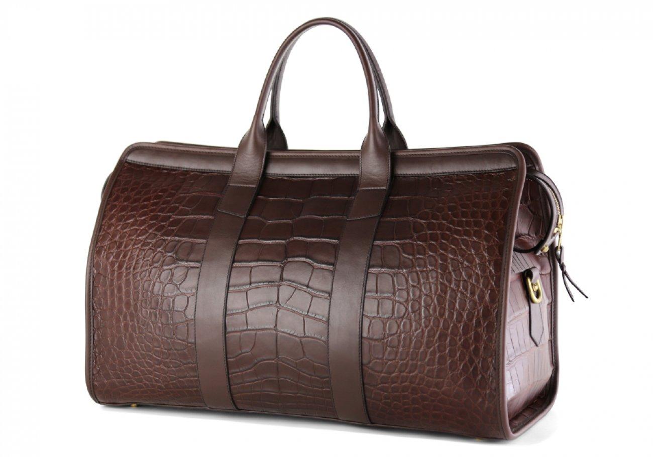 Alligator Duffle Bag Frank Clegg Signature Travel Duffle Chocolate 9