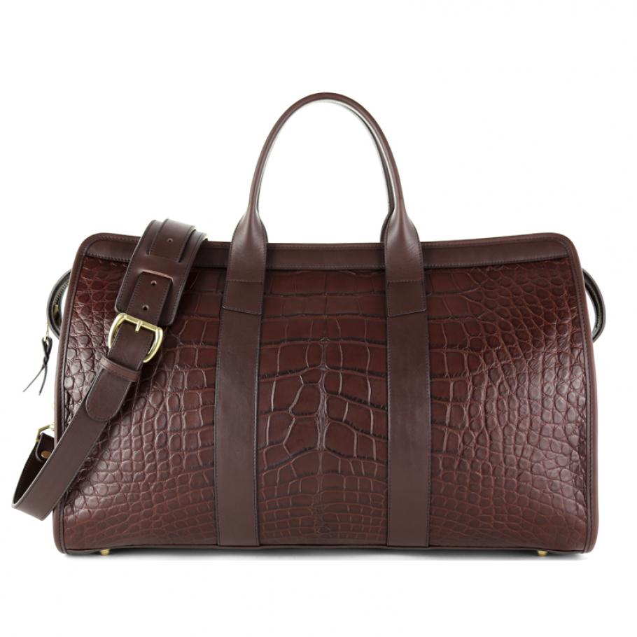 Alligator Duffle Bag Frank Clegg Signature Travel Duffle Chocolate Final