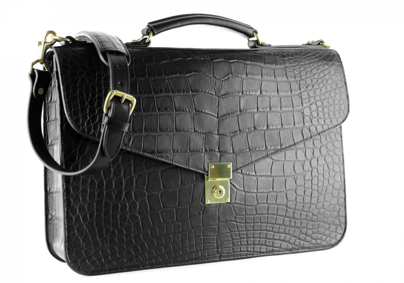 Alligator Lock Briefcase Frank Clegg Lock Briefcase Black 4