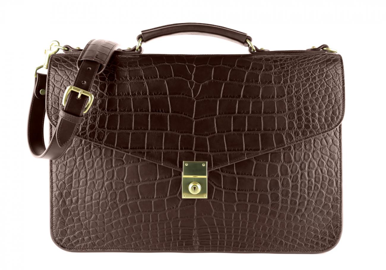 Alligator Lock Briefcase Frank Clegg Lock Briefcase Chocolate 1