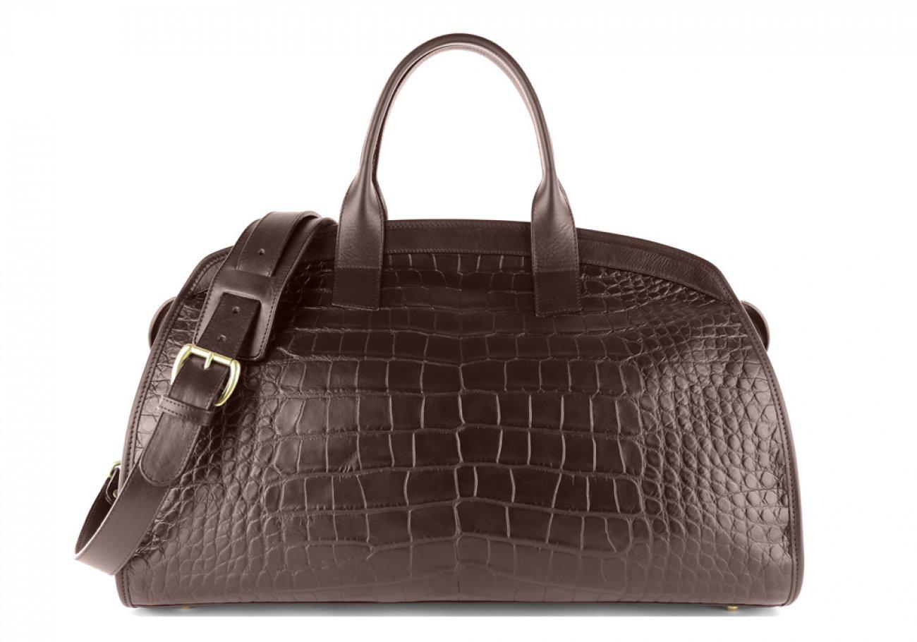 Alligator Travel Duffle Bag Frank Clegg Aiden Duffle Chocolate 1