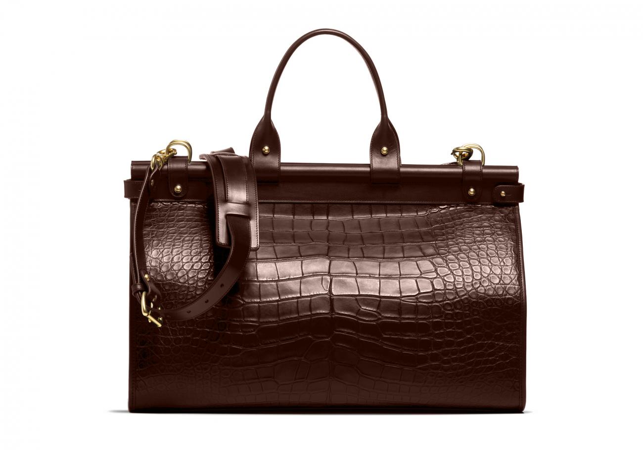 American Alligator Carpet Bag Chocolate4