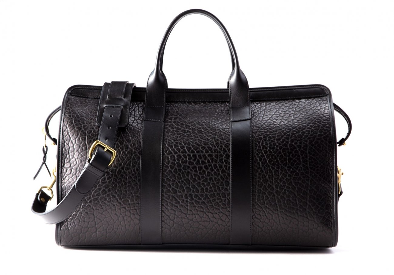 Bison Leather Duffle Bag Black 5 1