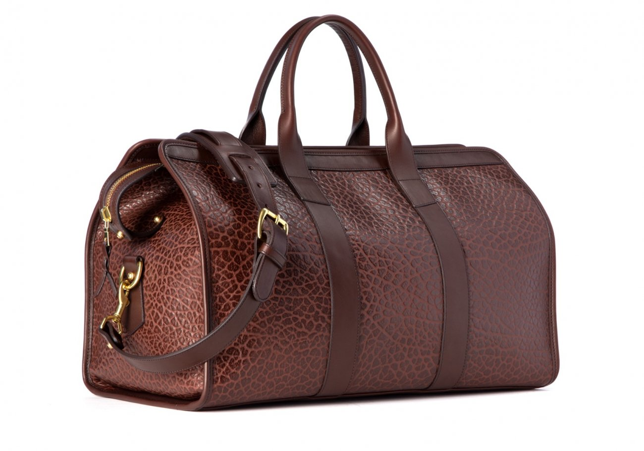 Bison Leather Duffle Bag Chocolate 1