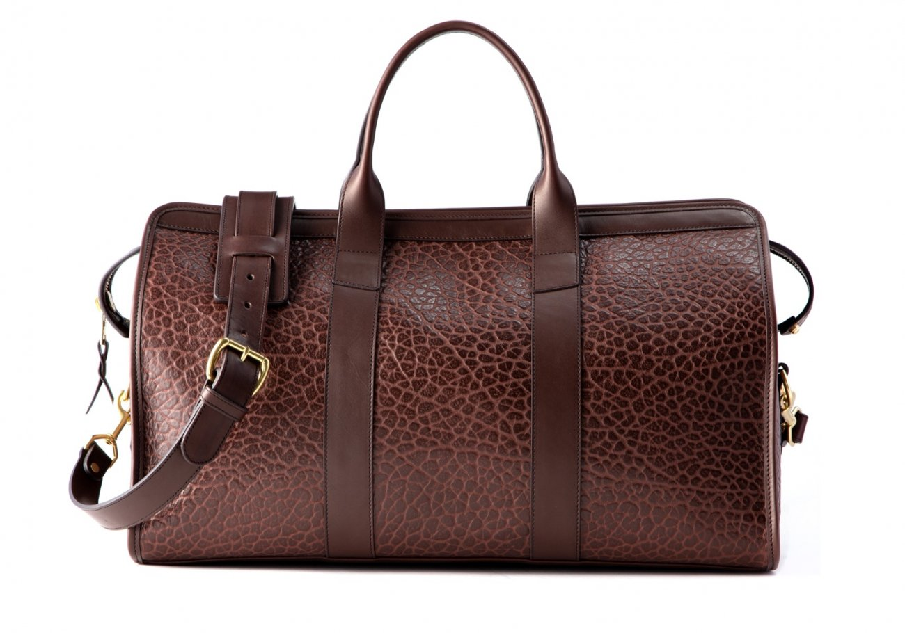 Bison Leather Duffle Bag Chocolate 5