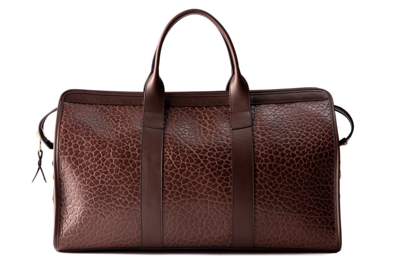Bison Leather Duffle Bag Chocolate 6