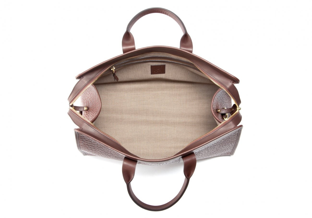 Bison Leather Duffle Bag Chocolate 8