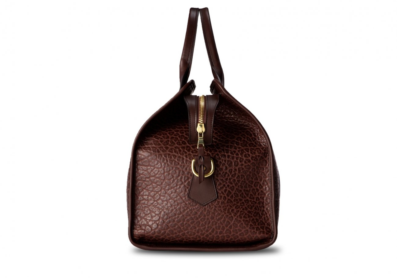 Bison Leather Duffle Bag Chocolate 9