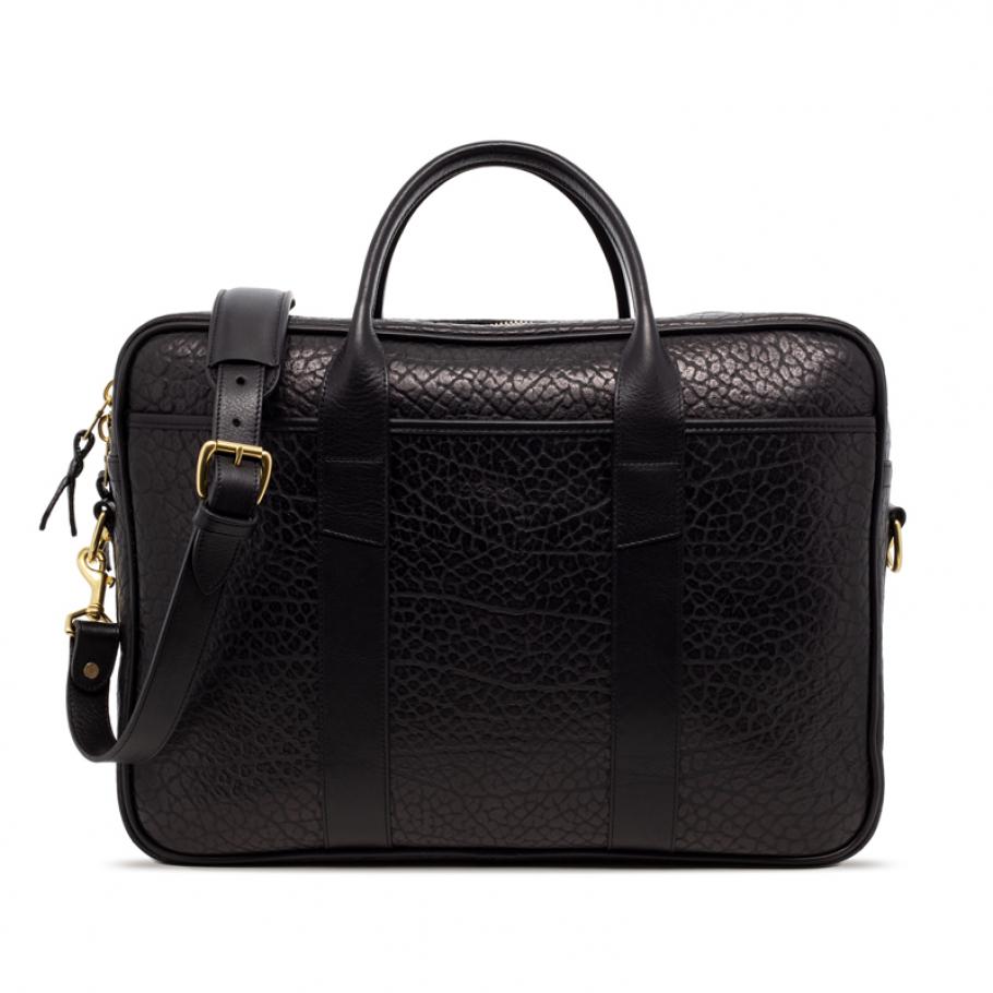 Black Commuter Leather Briefcase Shrunken Grain