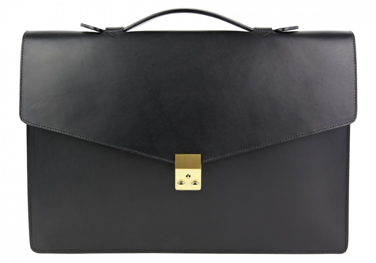 Black Leather Lock Portfolio With Handle 1