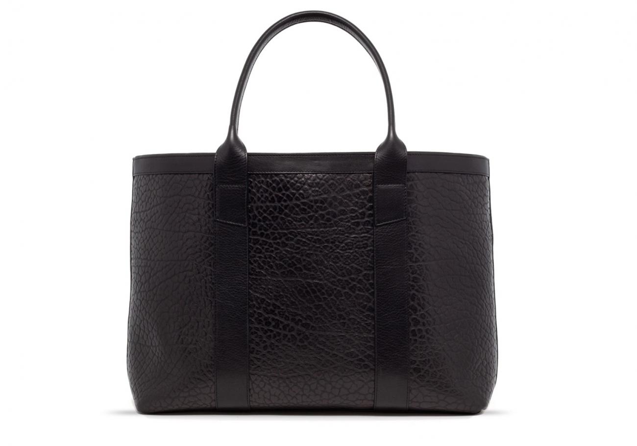 Black Leather Working Tote Bag Shrunken 20