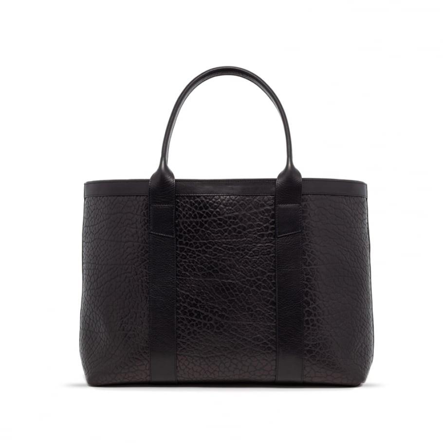 Black Leather Working Tote Bag Shrunken