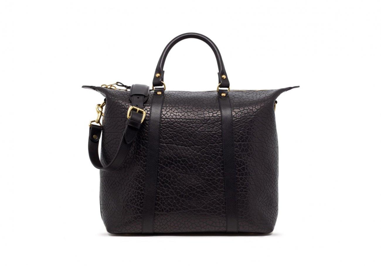 Black Leather Zipper Tote Bag Shrunken4