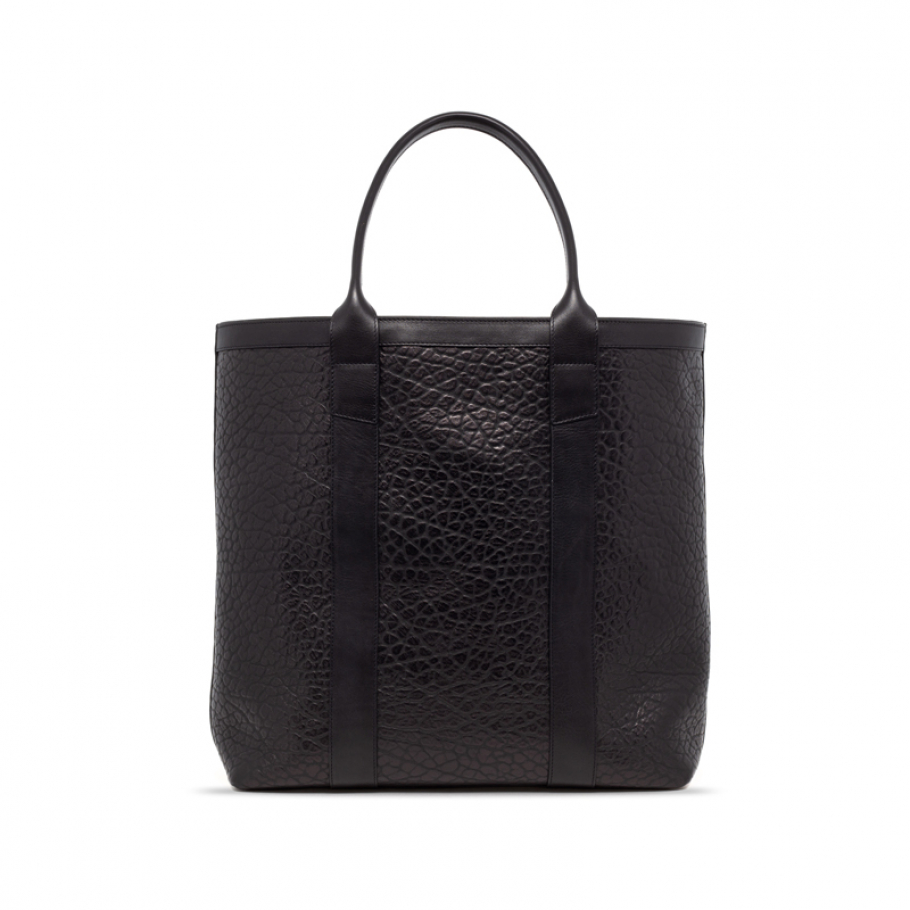 Black Tall Leather Tote Bag Shrunken