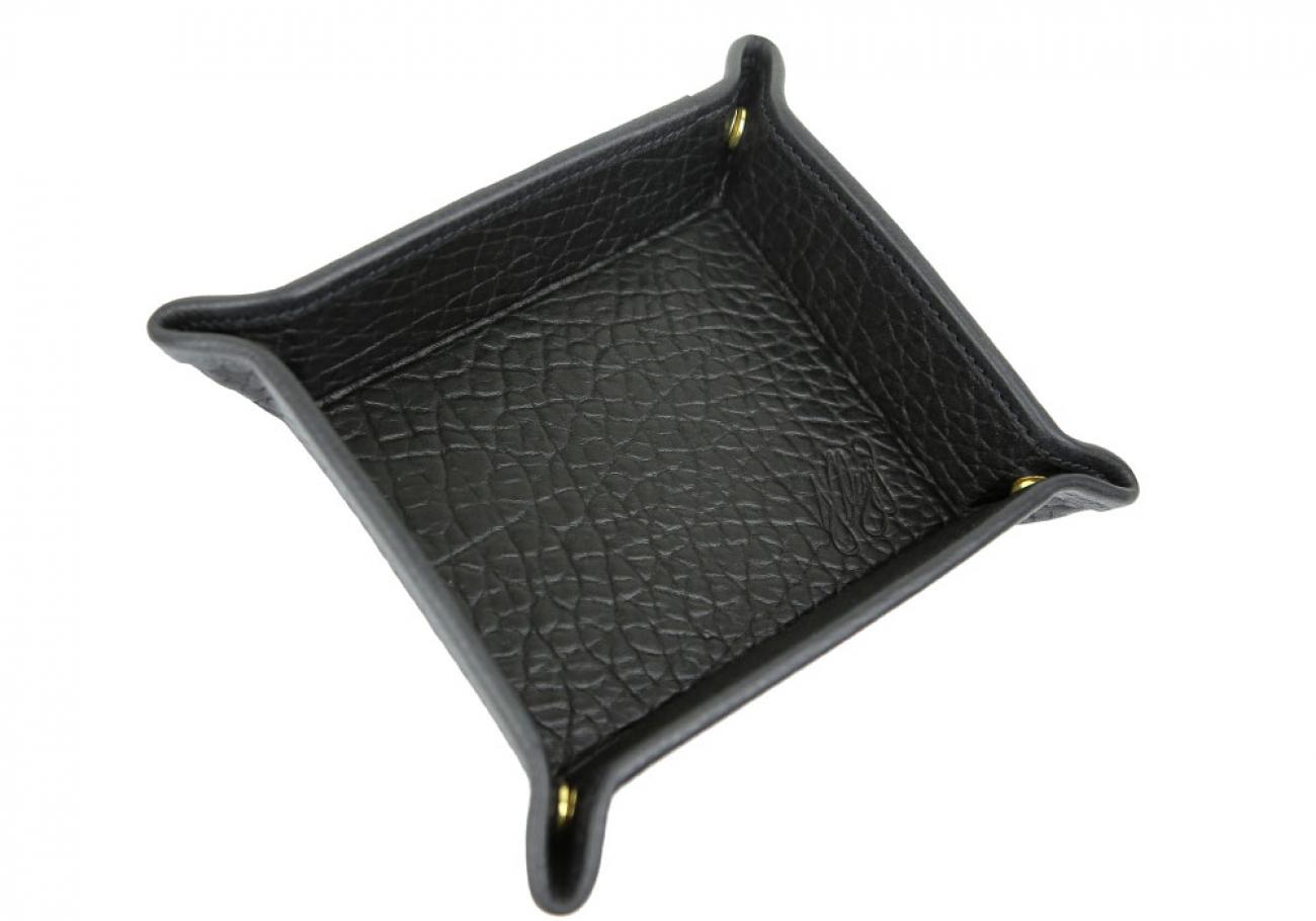 Black  Shrunken Leather Valet Key Tray Frank Clegg Made In Usa 2