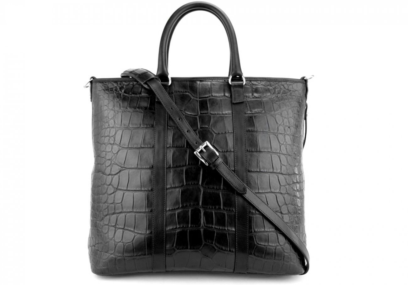 Black American Alligator Zipper Tote Bag Frank Clegg Made In Usa 1