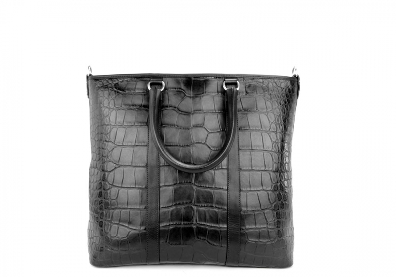 Black American Alligator Zipper Tote Bag Frank Clegg Made In Usa 2