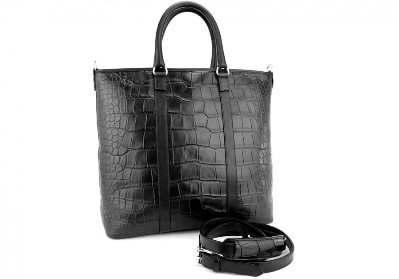 Black American Alligator Zipper Tote Bag Frank Clegg Made In Usa 3