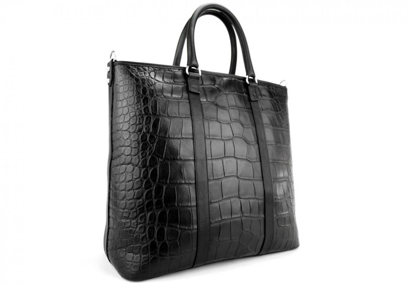 Black American Alligator Zipper Tote Bag Frank Clegg Made In Usa 4