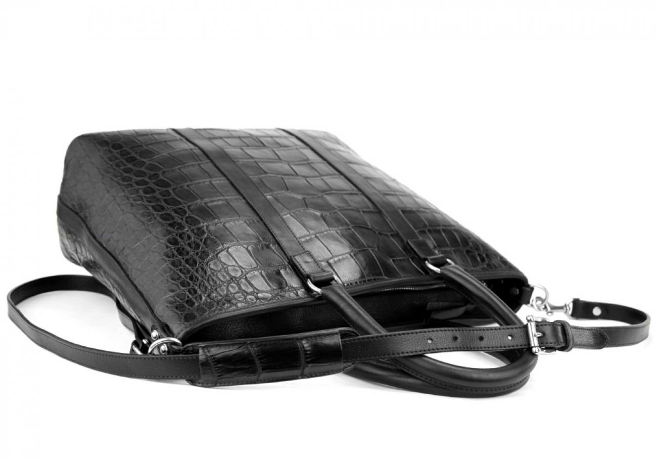 Black American Alligator Zipper Tote Bag Frank Clegg Made In Usa 5