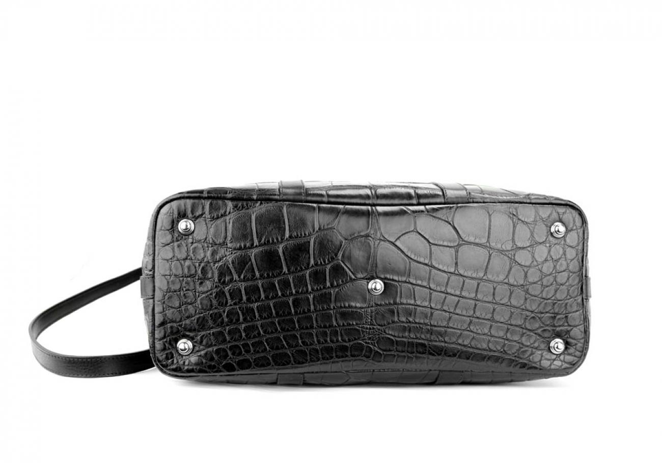 Black American Alligator Zipper Tote Bag Frank Clegg Made In Usa 7