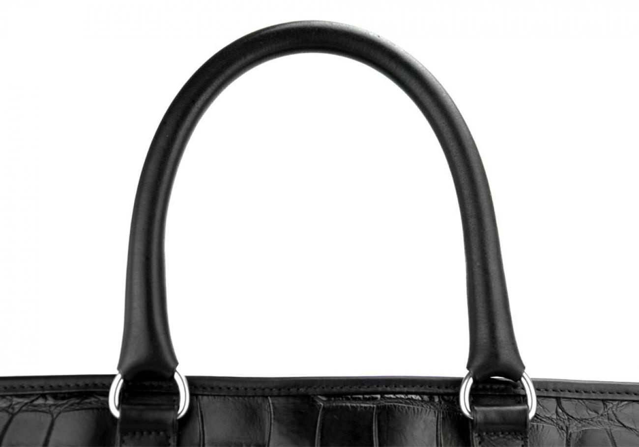 Black American Alligator Zipper Tote Bag Frank Clegg Made In Usa 8 1