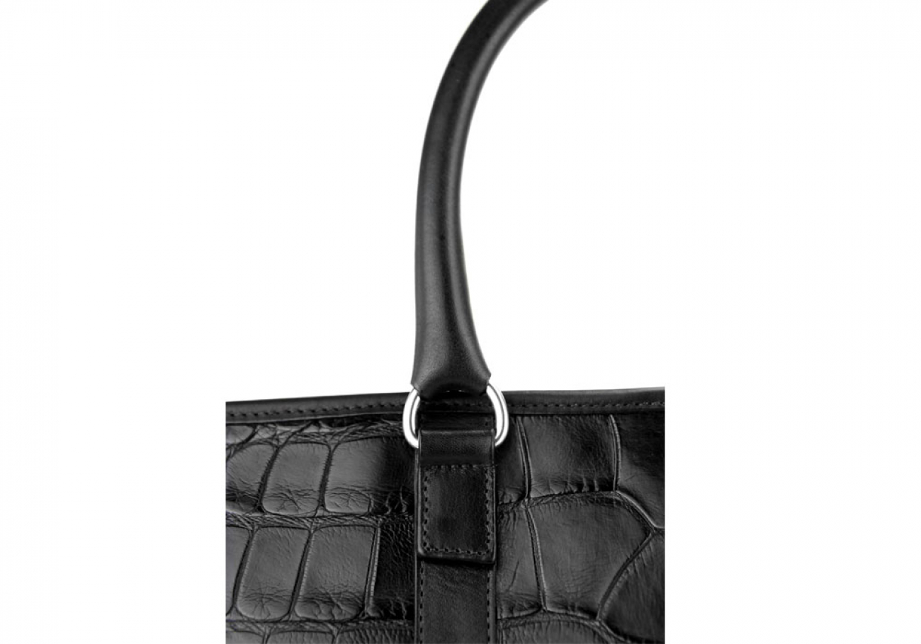 Black American Alligator Zipper Tote Bag Frank Clegg Made In Usa 9