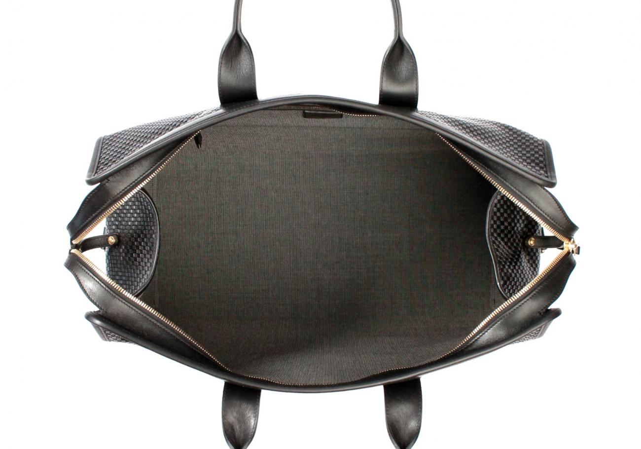 Black Basket Weave Sig Duffle E
