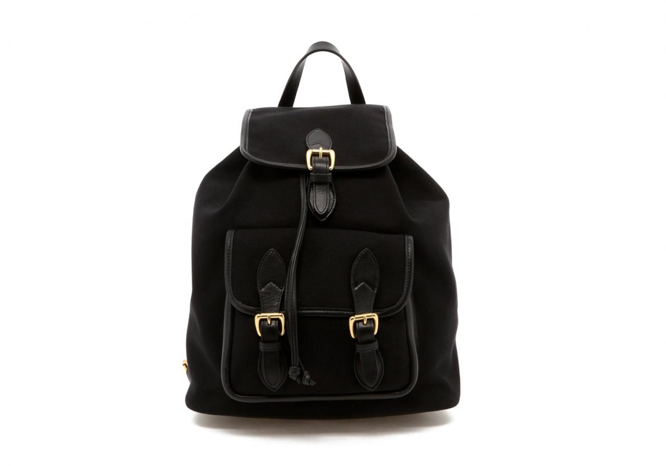 Black Canvas Charcoal Herringbone Interior Classic Backpack B