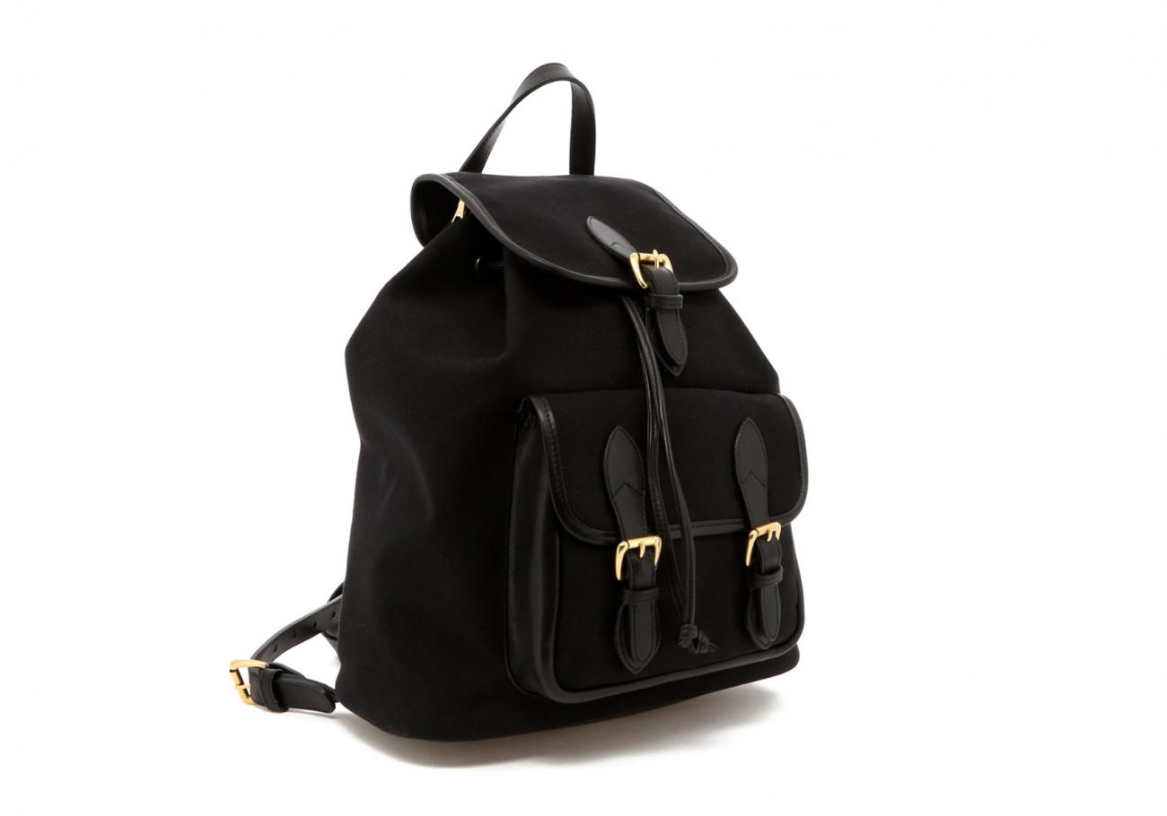 Black Canvas Charcoal Herringbone Interior Classic Backpack C