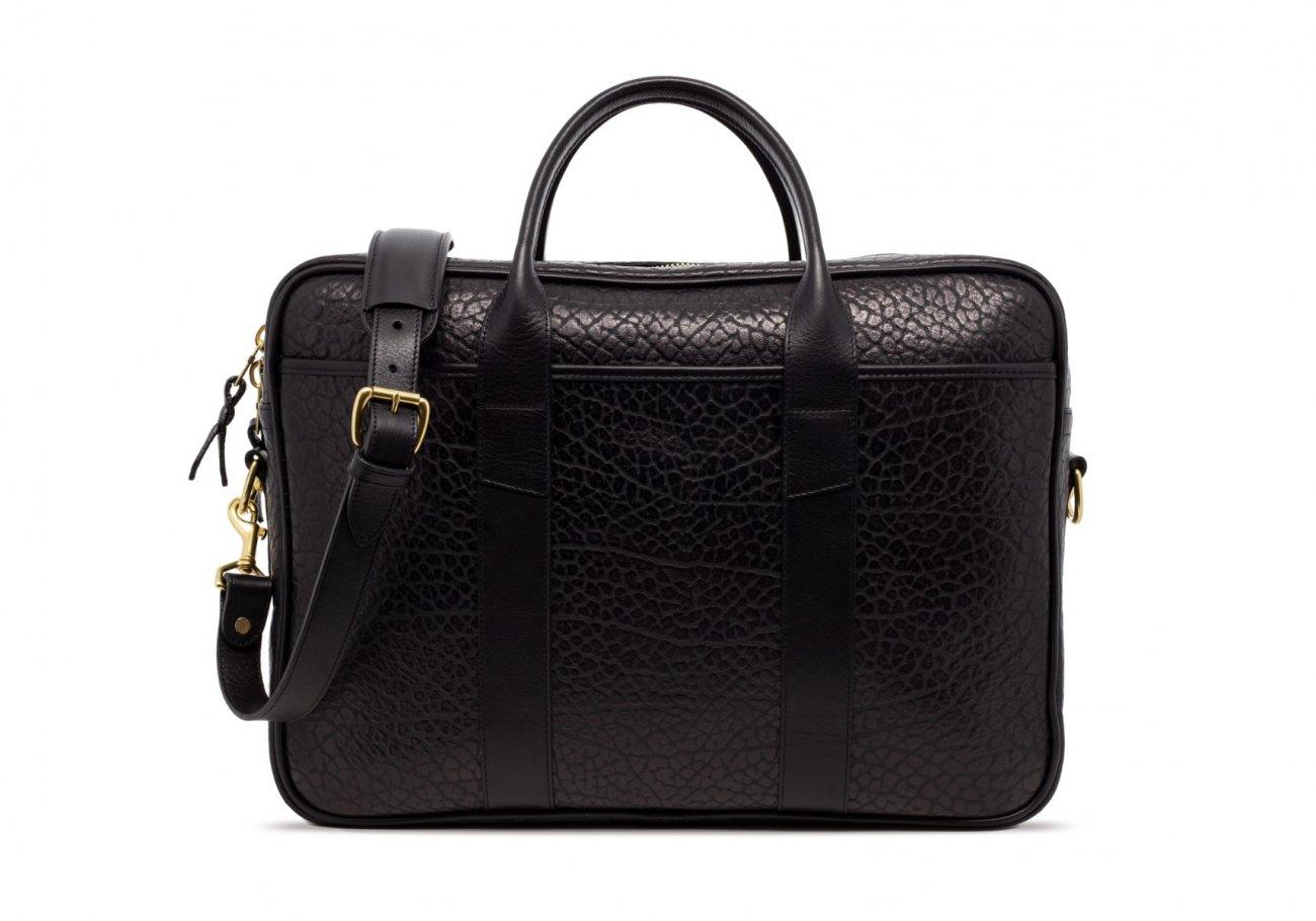 Black Commuter Leather Briefcase Shrunken Grain3 1