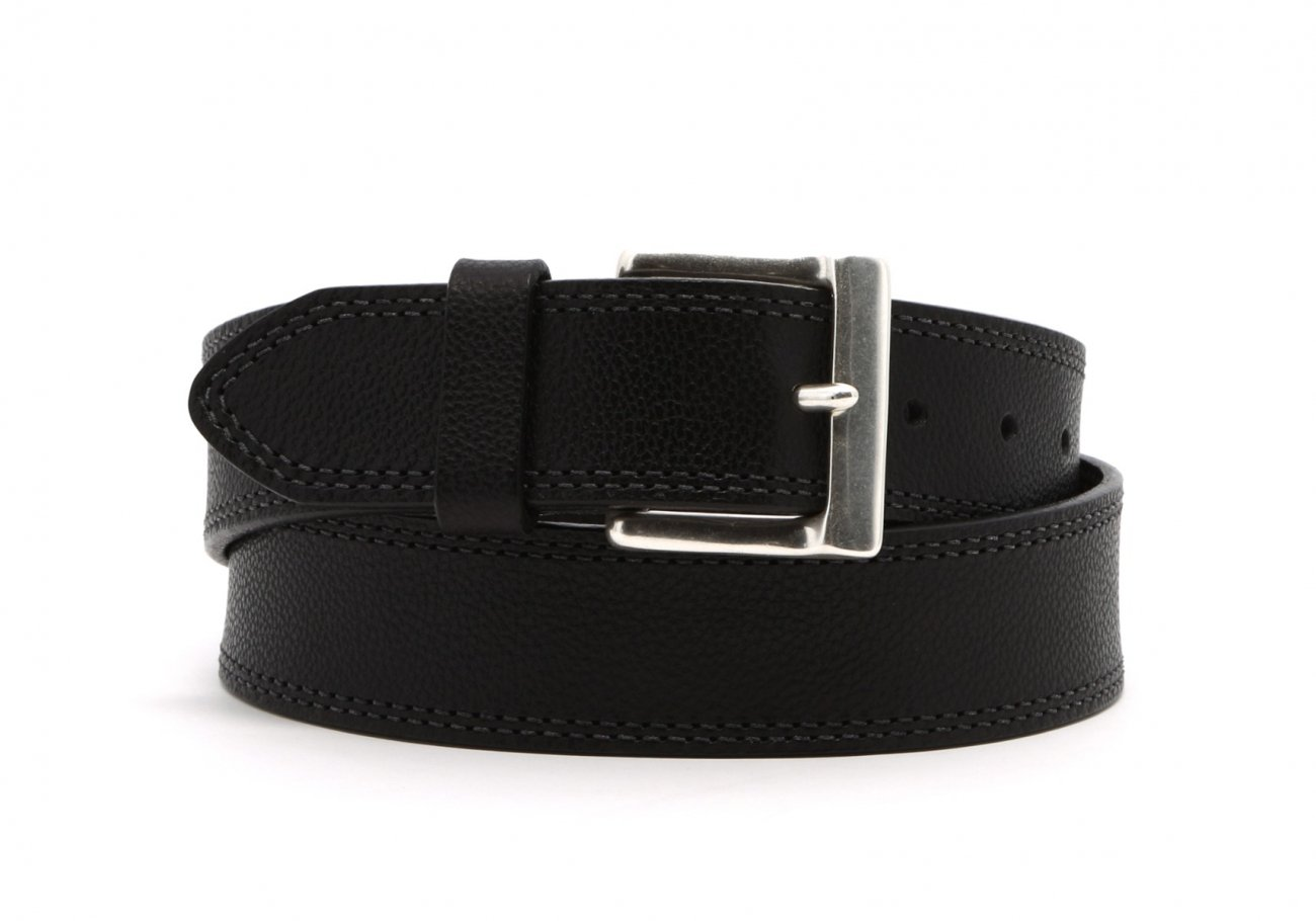 Black Double Stitch Wide Leather Belt1 1 1 2