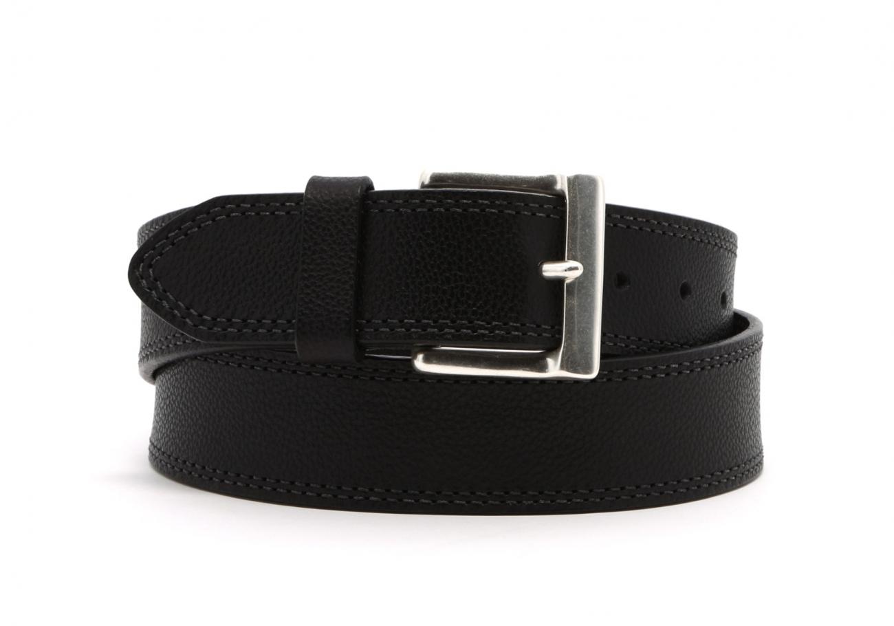 Black Double Stitch Wide Leather Belt1 1 2 2