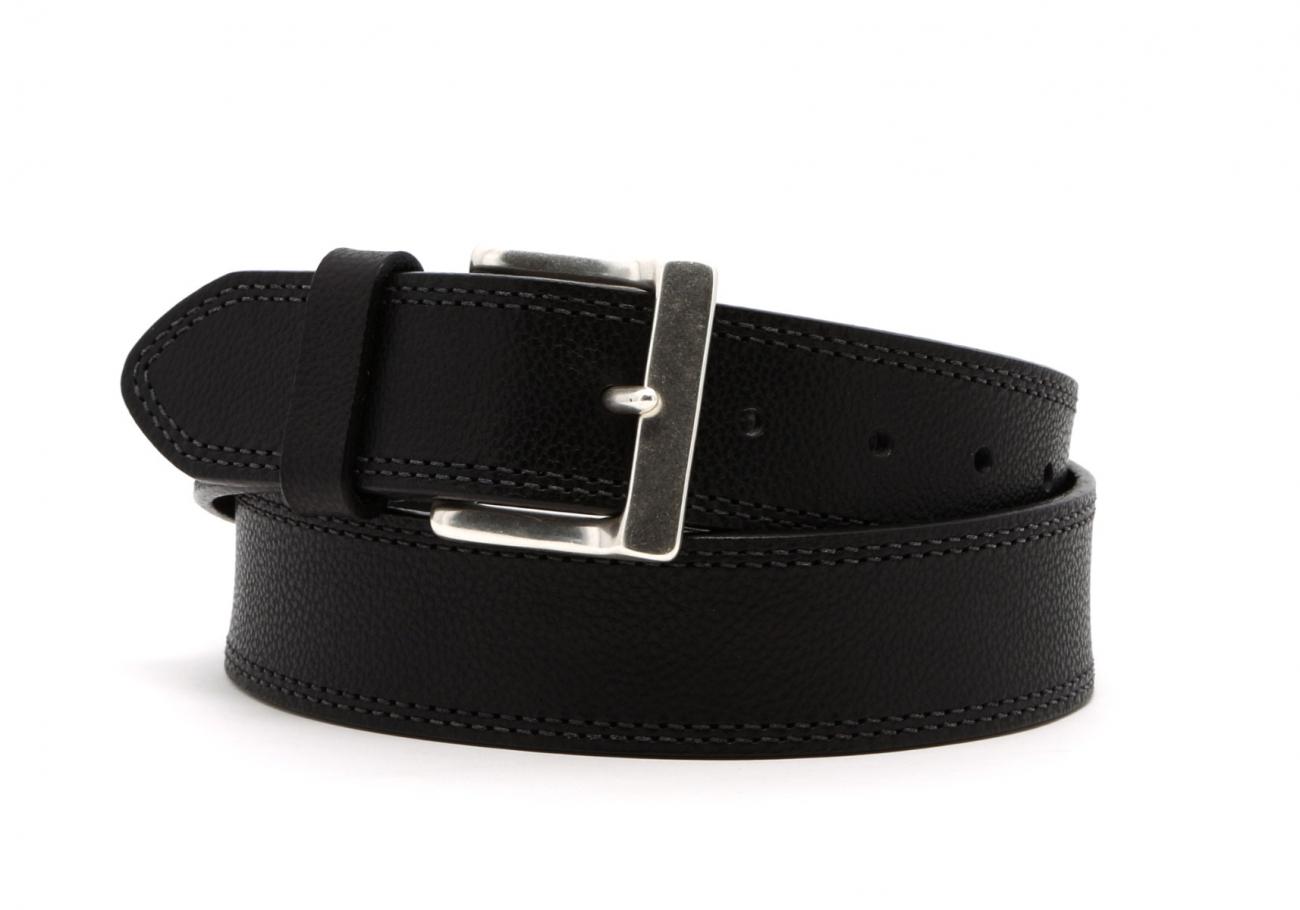 Black Double Stitch Wide Leather Belt2 1 3 2