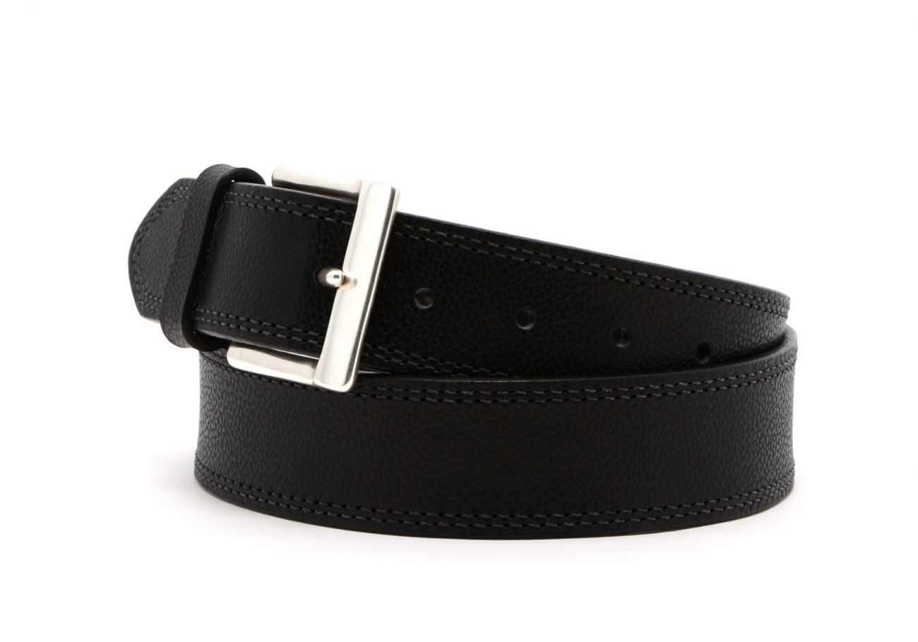 Black Double Stitch Wide Leather Belt3 1 3 2