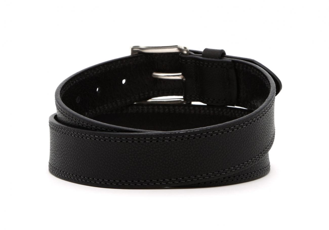 Black Double Stitch Wide Leather Belt4 1 3 2