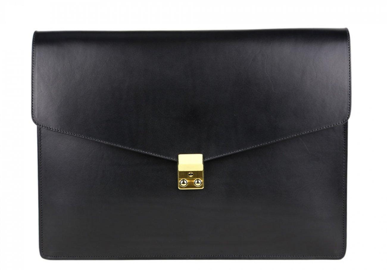 Black Harness Belting 15  Leather Lock Portfolio Case Frank Clegg Made In Usa 1 1