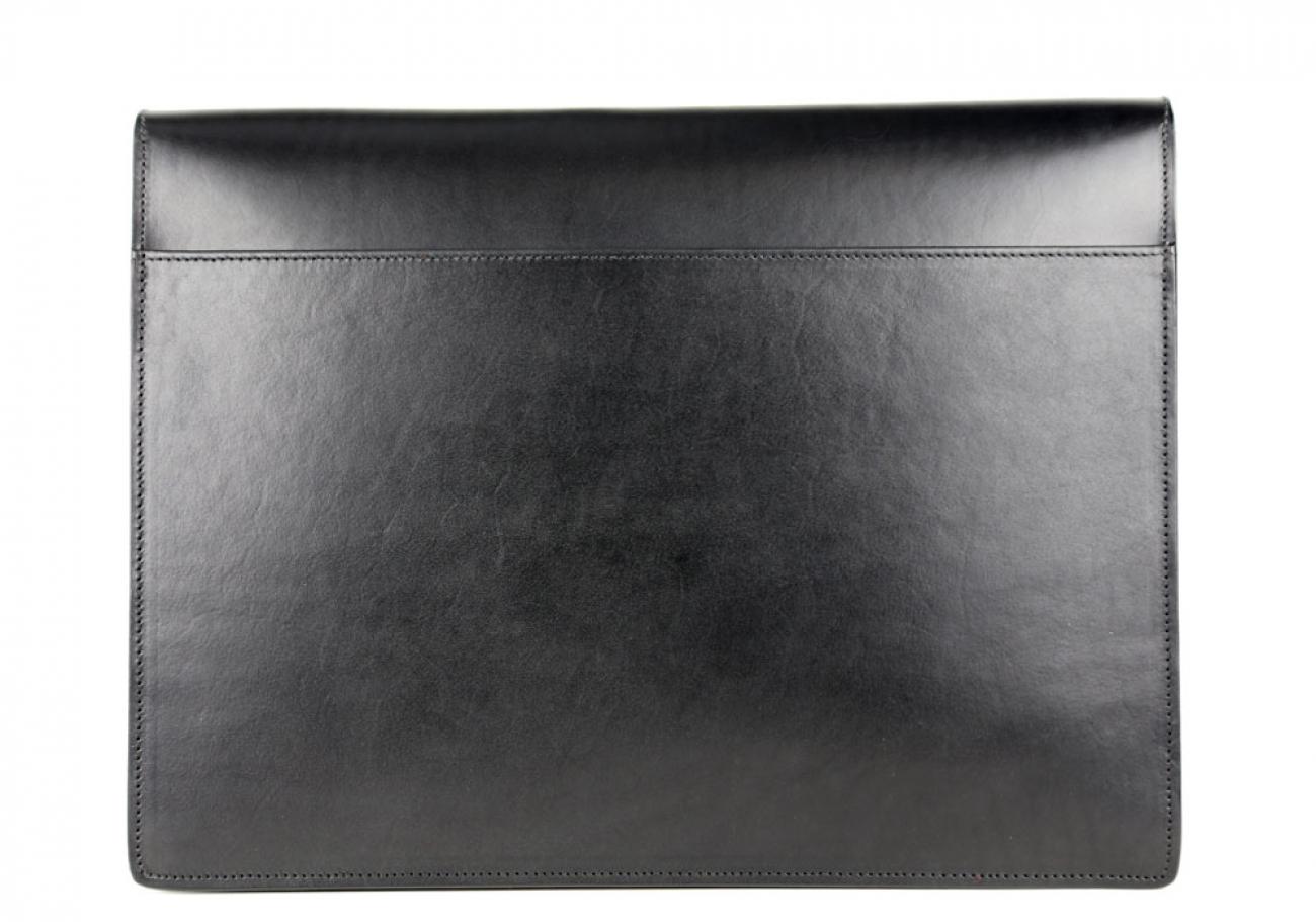 Black Harness Belting 15  Leather Lock Portfolio Case Frank Clegg Made In Usa 2 1