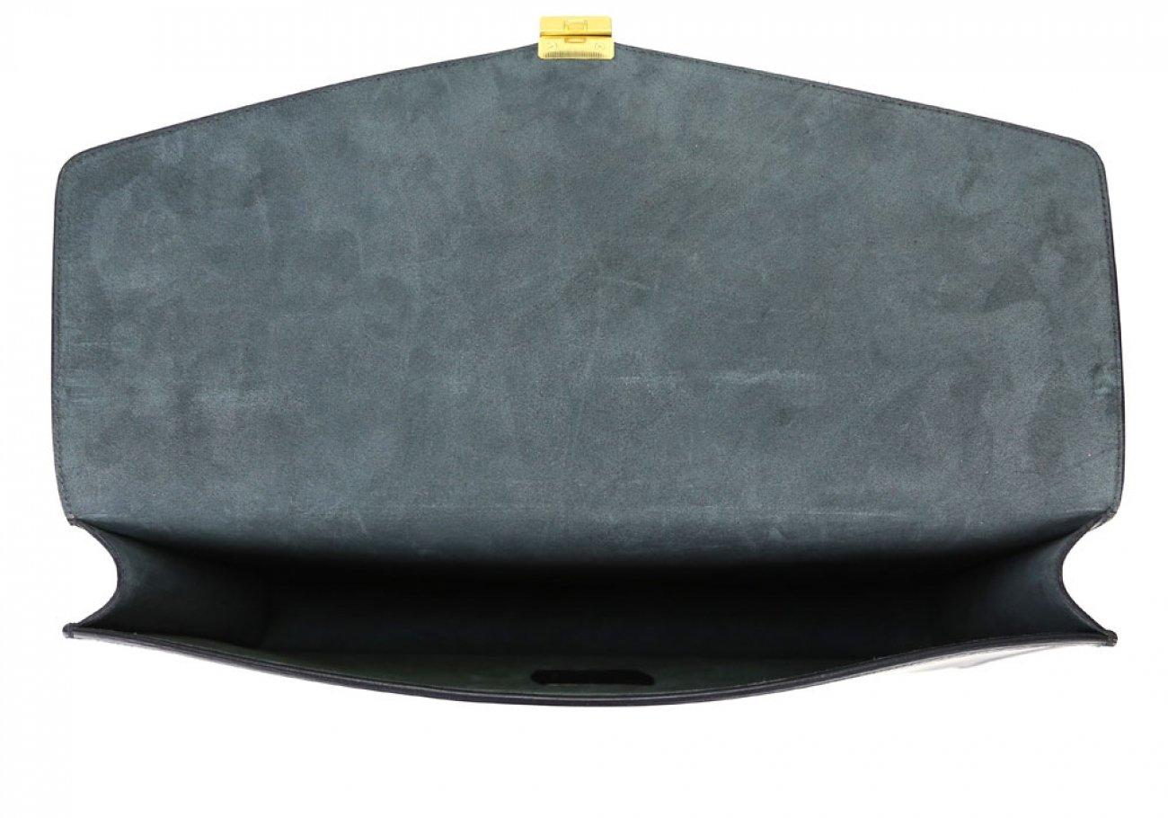Black Harness Belting 17  Leather Lock Portfolio Case Frank Clegg Made In Usa 4 1