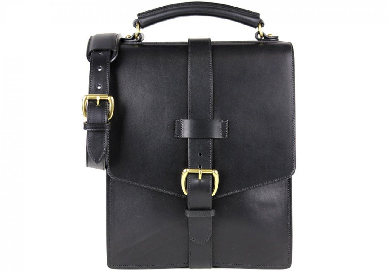 Black Harness Belting Leather Buckle Satchel Frank Clegg Made In Usa 1