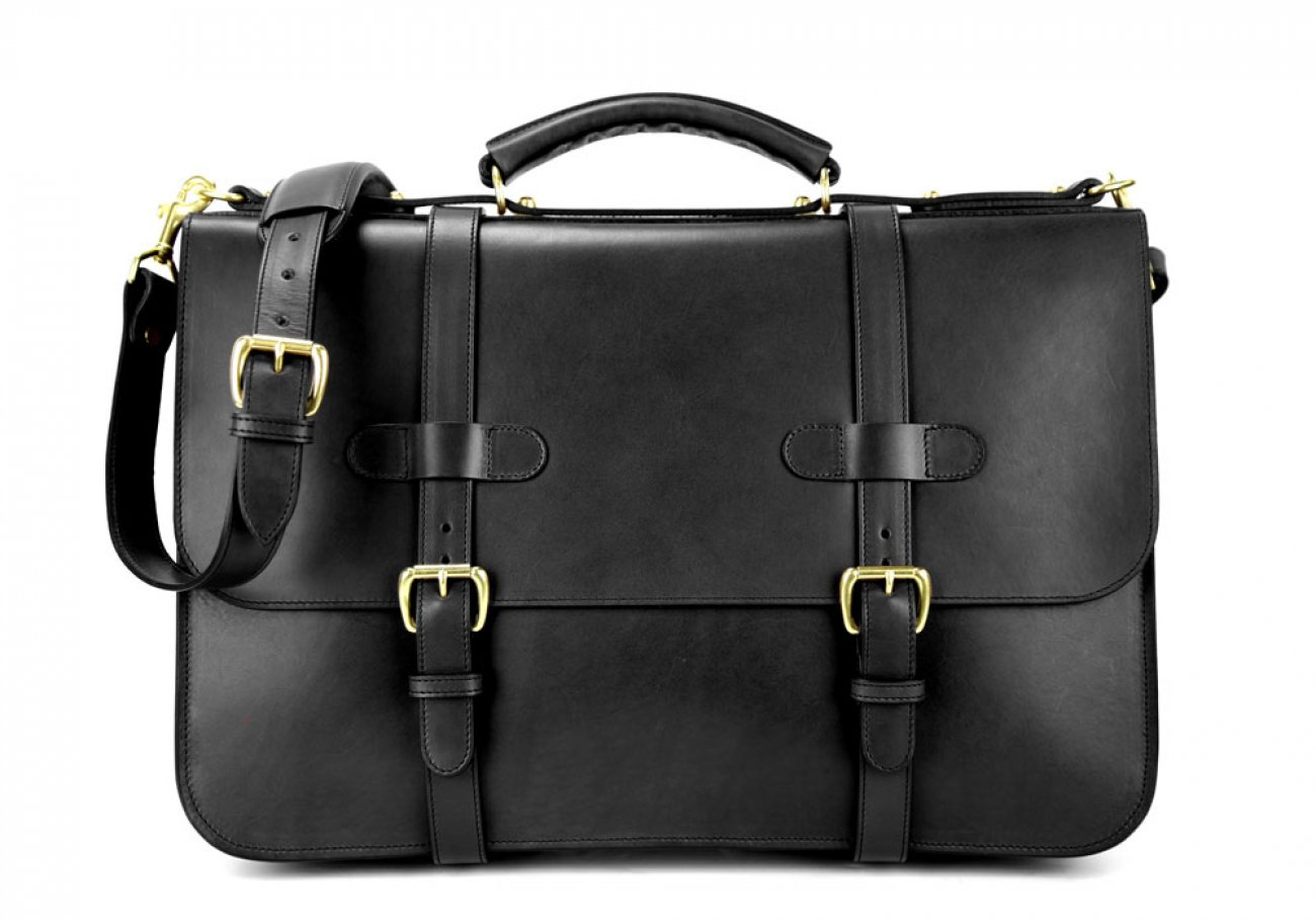 Black Harness Belting Leather English Briefcase Frank Clegg Made In Usa 1