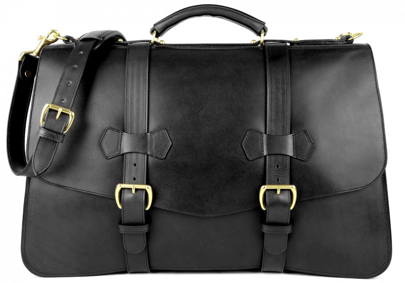 Black Harness Belting Leather Lawyers Briefcase Frank Clegg Made In Usa 1