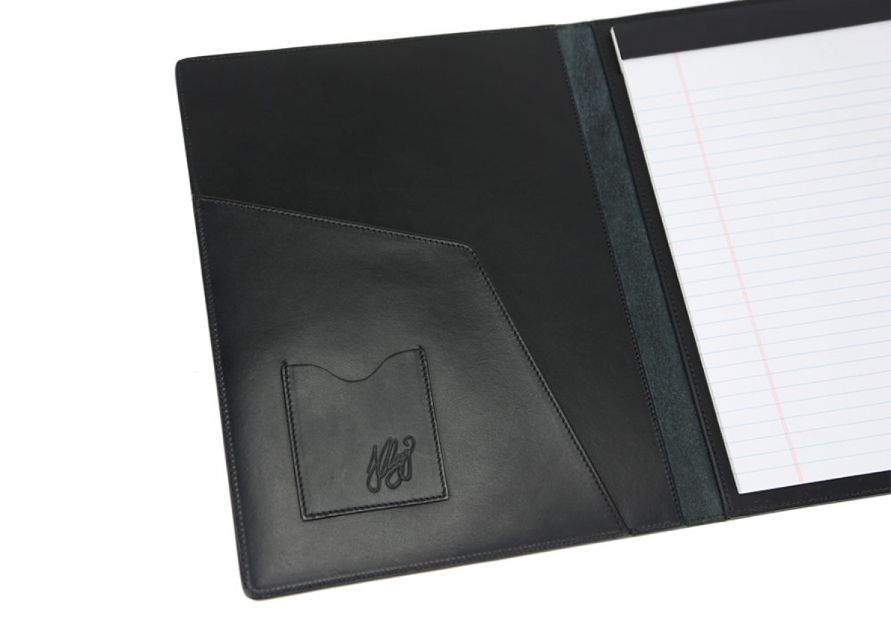 Black Harness Belting Leather Note Pad Frank Clegg Made In Usa 4