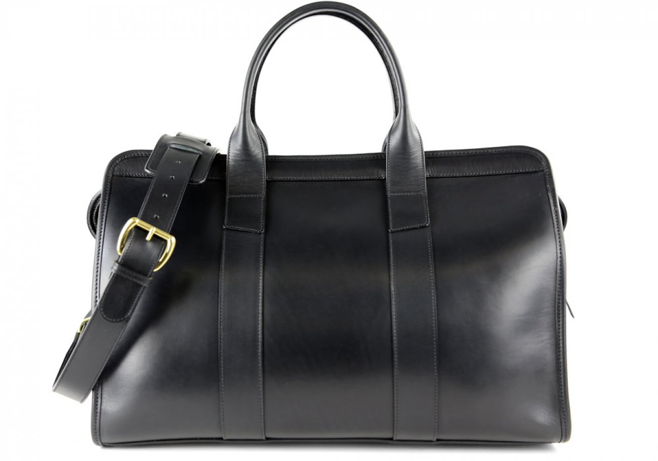 Black Harness Belting Leather Small Duffle Frank Clegg Made In Usa 1 3