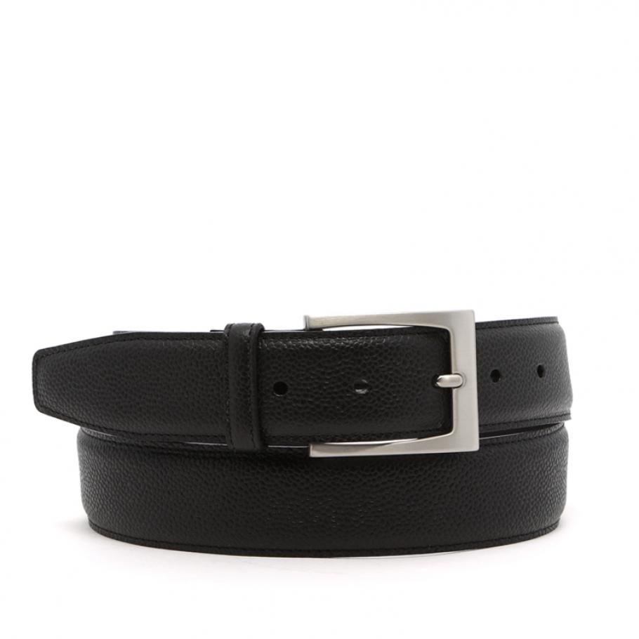 Black Hatch Grain Leather Belt Silver Buckle 3 5